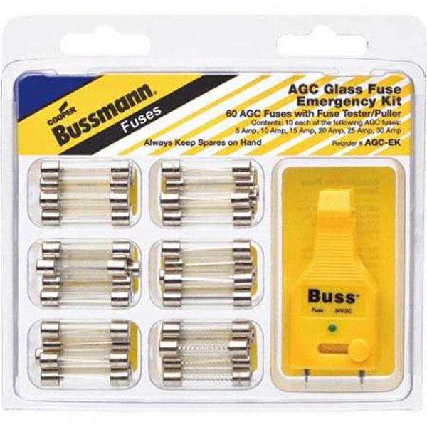 Bussmann EK AGC Glass Tube Bonus Pack 60 Assorted Fuses + 1 Puller//Tester